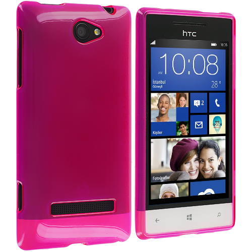 HTC Windows 8S Hot Pink Plain TPU Rubber Skin Case Cover