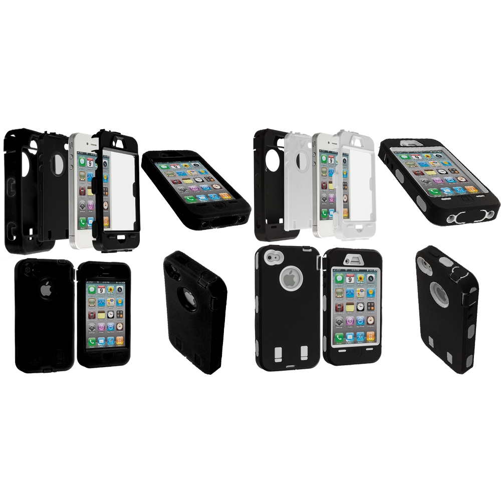Apple iPhone 4 / 4S 2 in 1 Combo Bundle Pack - Black / White + Protector Hybrid Deluxe Hard/Soft Case Cover