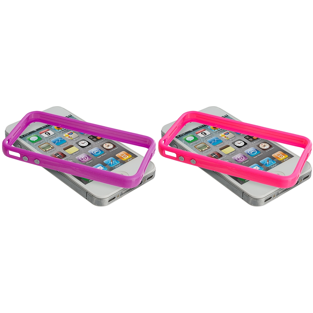 Apple iPhone 4 / 4S 2 in 1 Combo Bundle Pack - Solid Purple Pink TPU Bumper with Metal Buttons