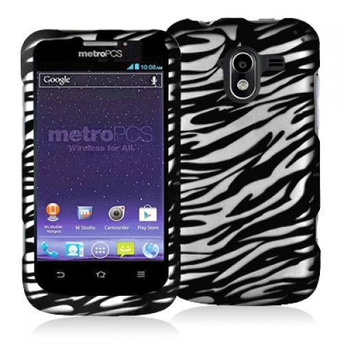 ZTE Avid 4G N9120 Black / White Zebra Hard Rubberized Design Case Cover