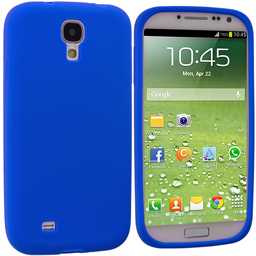 Samsung Galaxy S4 2 in 1 Combo Bundle Pack - White Blue Silicone Soft Skin Case Cover : Color Blue
