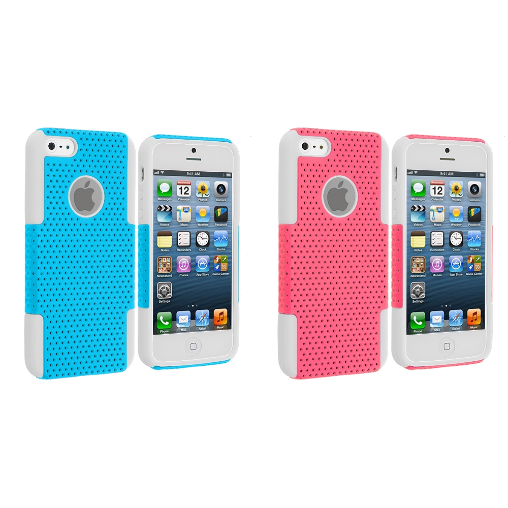 Apple iPhone 5/5S/SE 2 in 1 Combo Bundle Pack - Pink Baby Blue Hybrid Mesh Hard/Soft Case Cover
