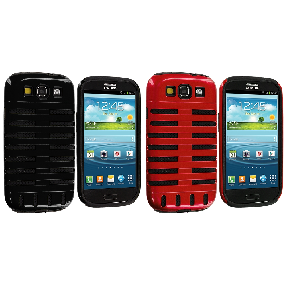 Samsung Galaxy S3 2 in 1 Combo Bundle Pack - Black / Red Hybrid Ribs Hard/Soft Case Cover