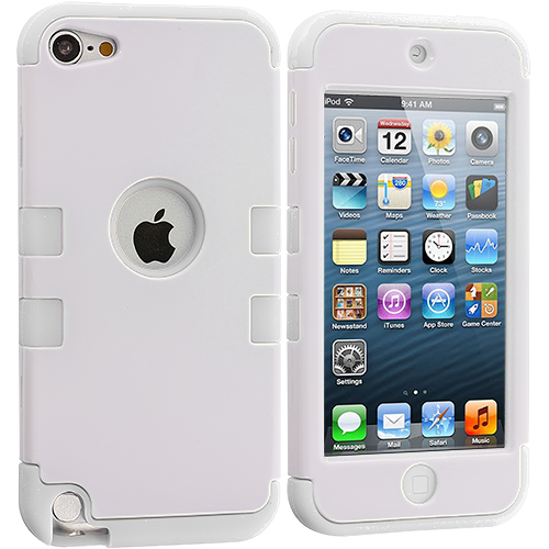 Apple iPod Touch 5th 6th Generation White / White Hybrid Tuff Hard/Soft 3-Piece Case Cover