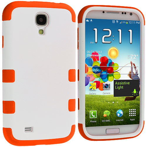 Samsung Galaxy S4 Orange / White Hybrid Tuff Hard/Soft 3-Piece Case Cover