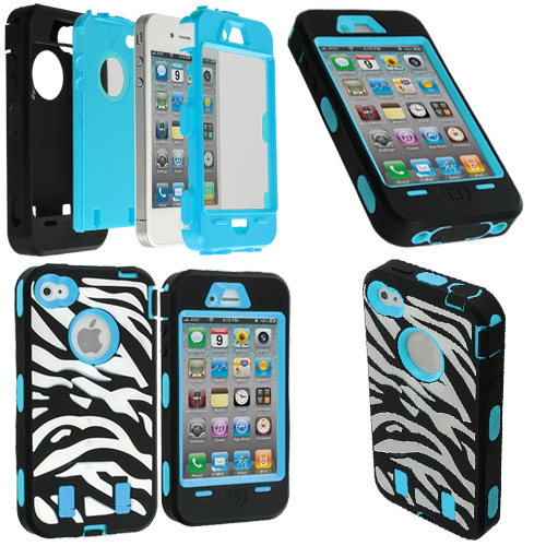 Apple iPhone 4 / 4S Baby Blue + Protector Hybrid Zebra 3-Piece Case Cover