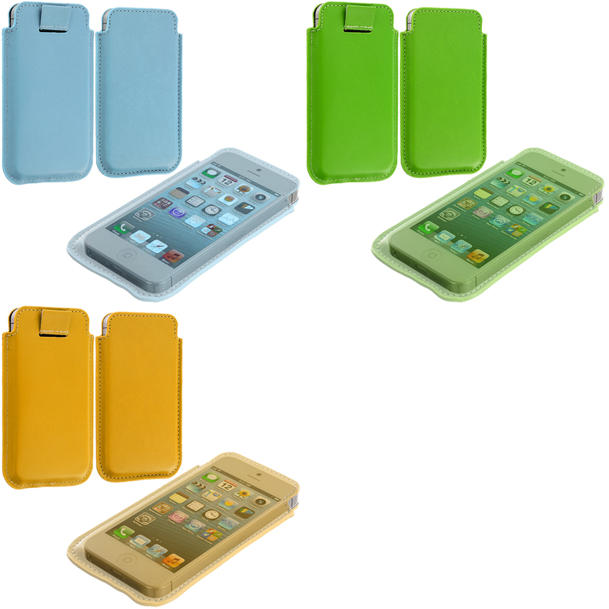 Apple iPhone 5/5S/SE Combo Pack : Baby Blue Sleeve Pouch