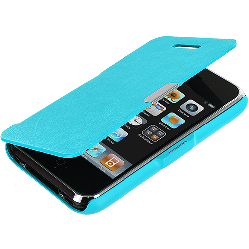Apple iPhone 3G / 3GS Baby Blue Texture Magnetic Wallet Case Cover Pouch