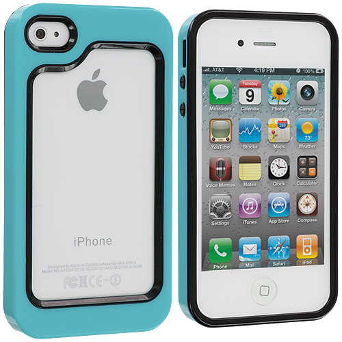 Apple iPhone 4 / 4S Black / Baby Blue Hybrid TPU Bumper Case Cover