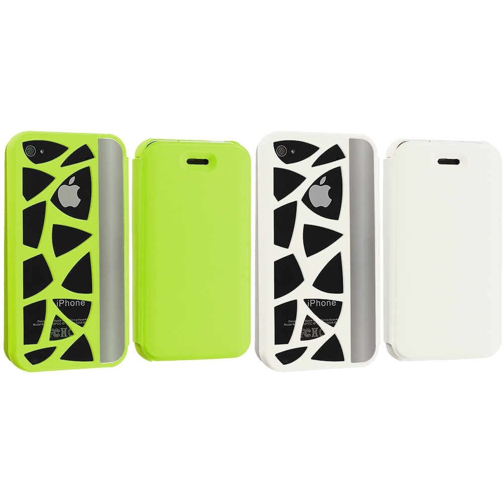 Apple iPhone 4 / 4S 2 in 1 Combo Bundle Pack - Neon Green White Carved Out Wallet Case Cover Pouch