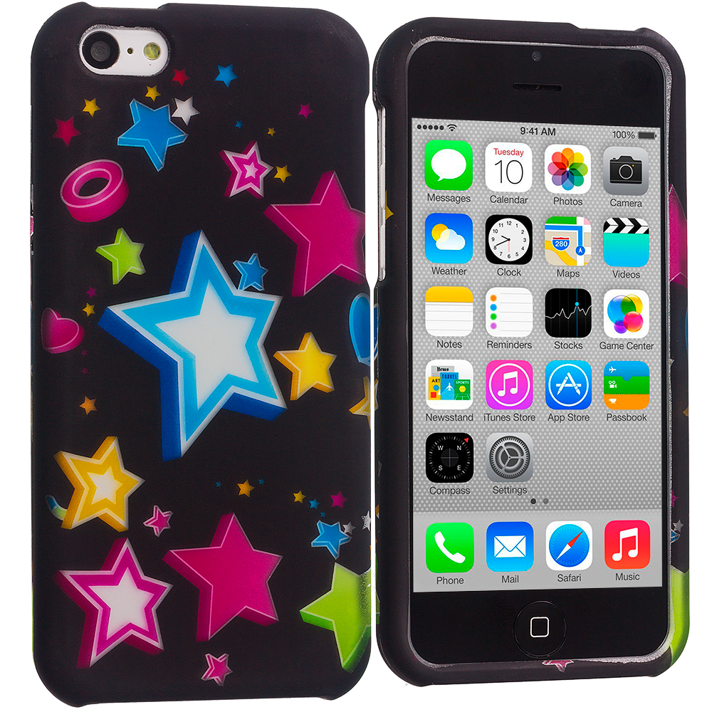Apple iPhone 5C Colorful Shooting Star Hard Rubberized Design Case Cover