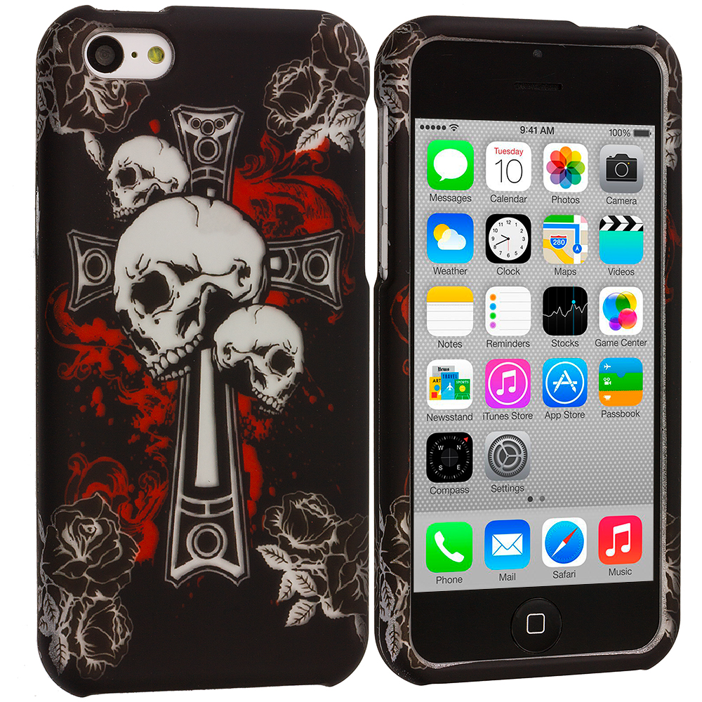 Apple iPhone 5C Skull on Cross Hard Rubberized Design Case Cover