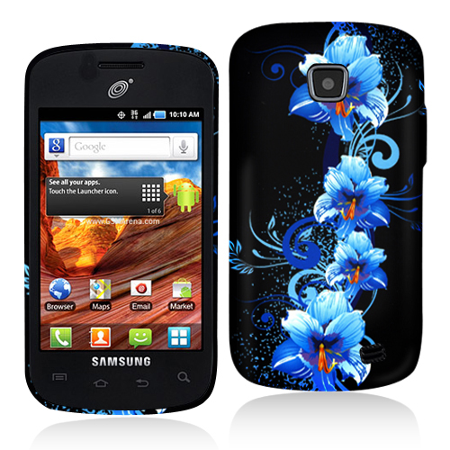 Samsung Proclaim S720C Blue Flowers Hard Rubberized Design Case Cover