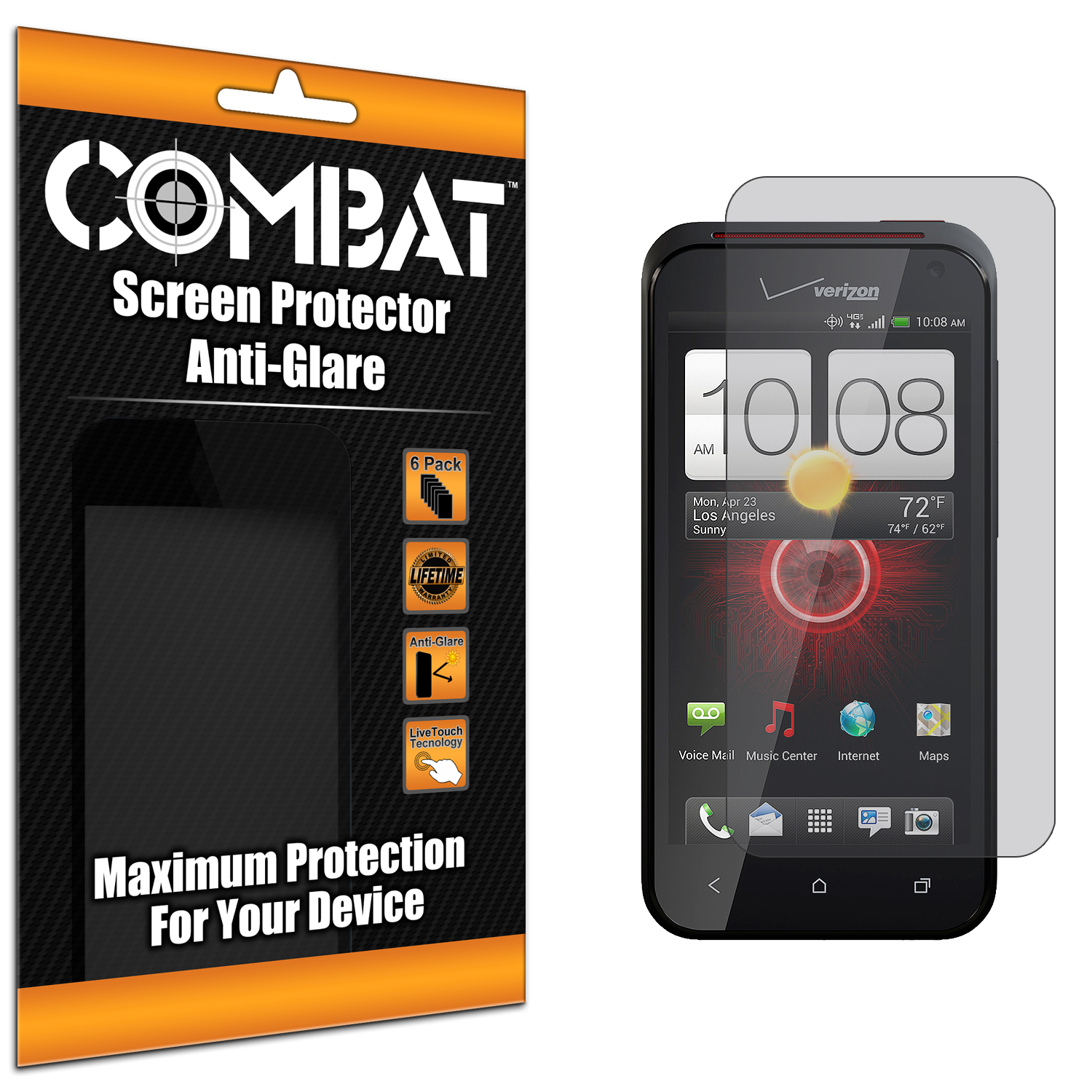 HTC Droid Incredible 4G LTE 6410 Combat 6 Pack Anti-Glare Matte Screen Protector