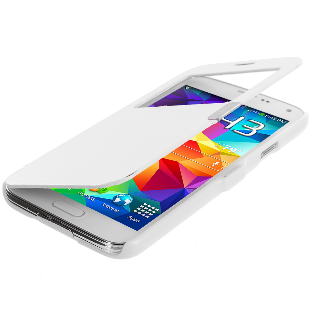 Samsung Galaxy S5 2 in 1 Combo Bundle Pack - White Purple Magnetic Wallet Case Cover Pouch : Color White (Open Front)