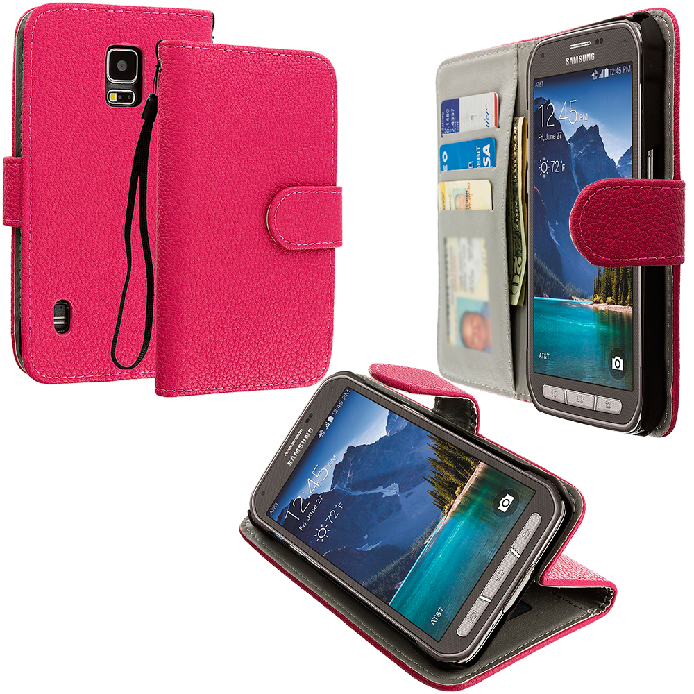 Samsung Galaxy S5 Active Hot Pink Leather Wallet Pouch Case Cover with Slots