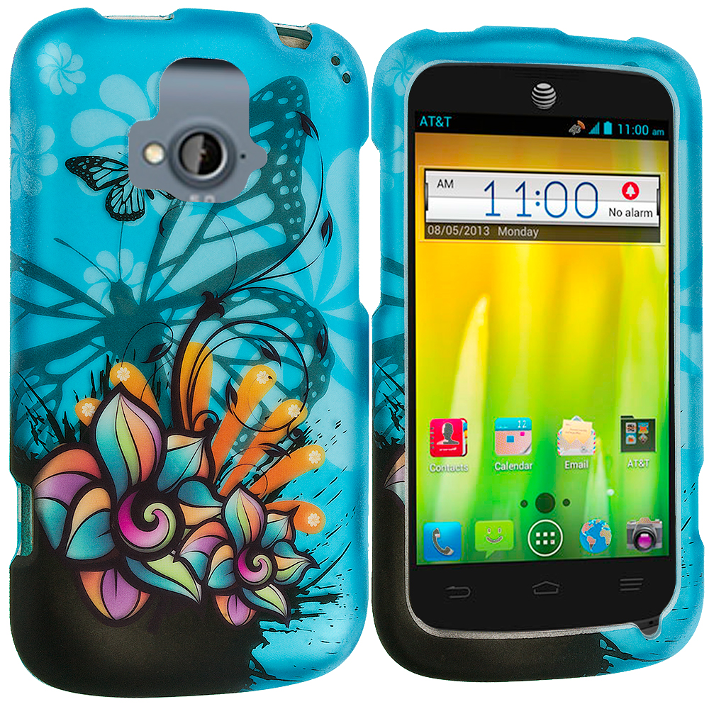 ZTE Radiant Butterfly Flower on Blue 2D Hard Rubberized Design Case Cover