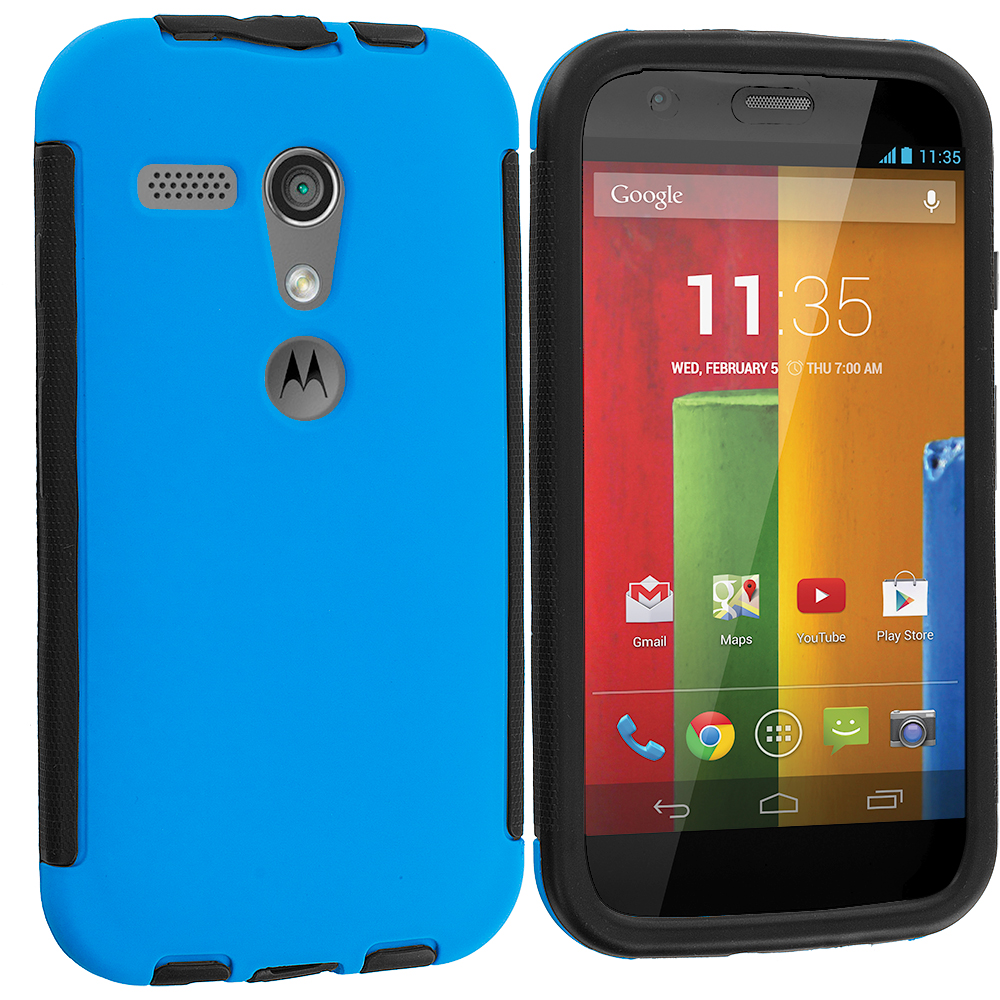 Motorola Moto G 2 in 1 Combo Bundle Pack - Green / Blue Hybrid Hard TPU Shockproof Case Cover With Built in Screen Protector : Color Black / Blue