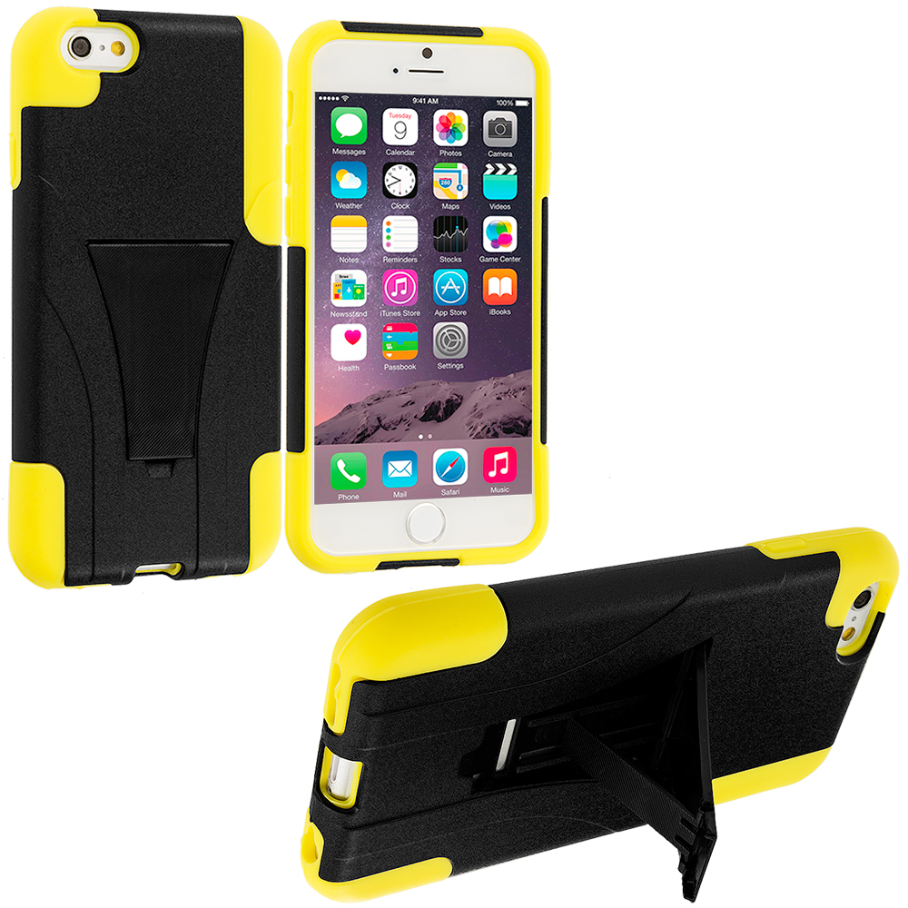 Apple iPhone 6 Plus 6S Plus (5.5) Black / Yellow Hybrid Hard Soft Shockproof Case Cover with Kickstand