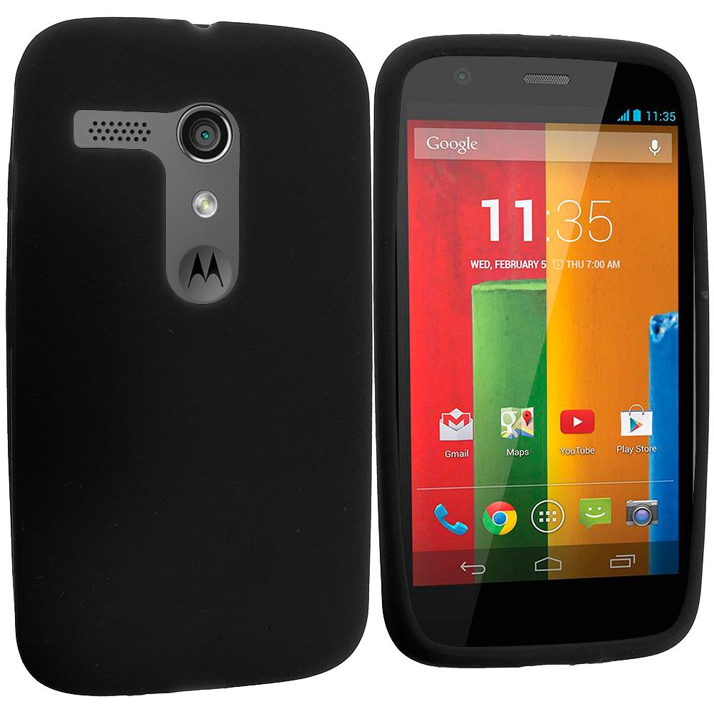 Motorola Moto G Black Silicone Soft Skin Rubber Case Cover