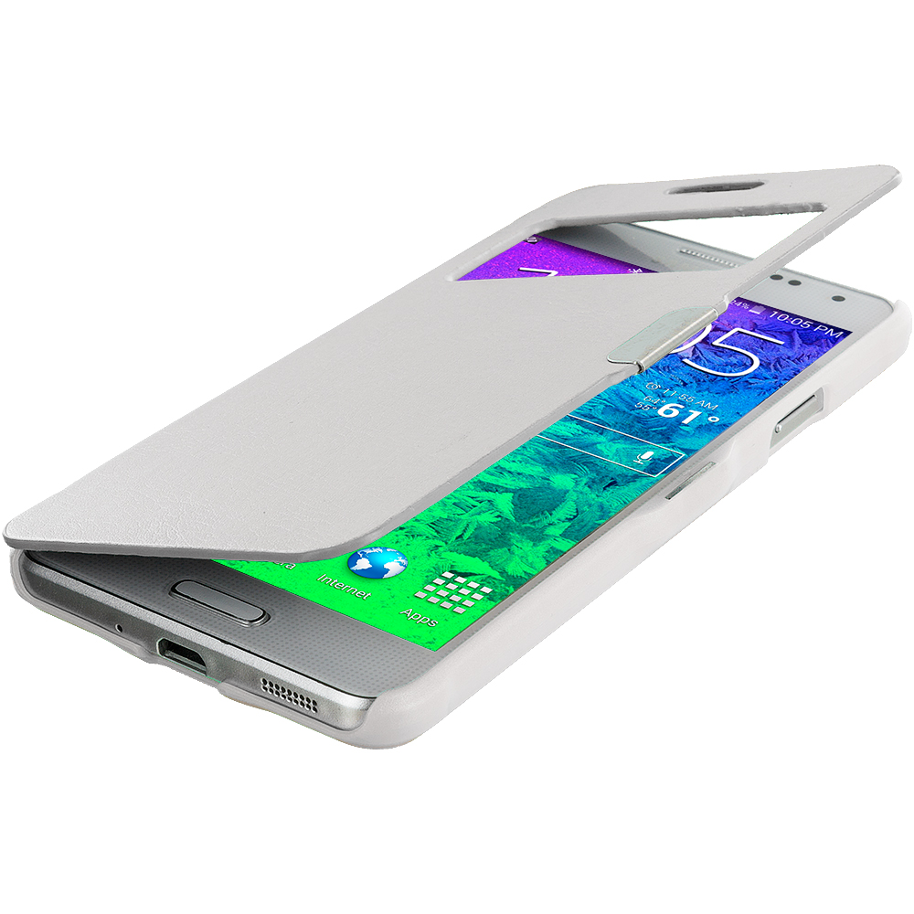 Samsung Galaxy Alpha G850 White (Open) Magnetic Flip Wallet Case Cover Pouch