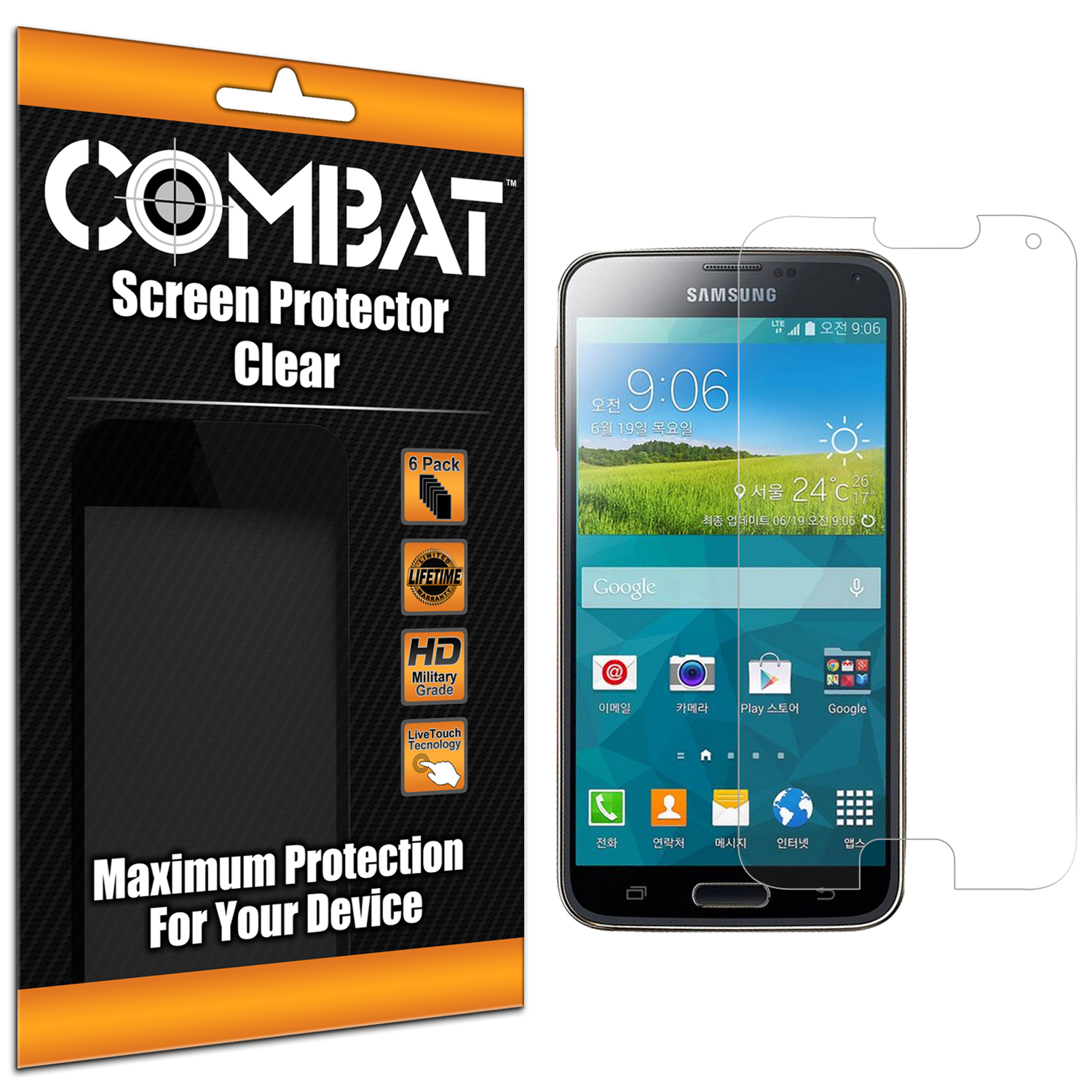 Samsung Galaxy S5 Prime G906 Combat 6 Pack HD Clear Screen Protector