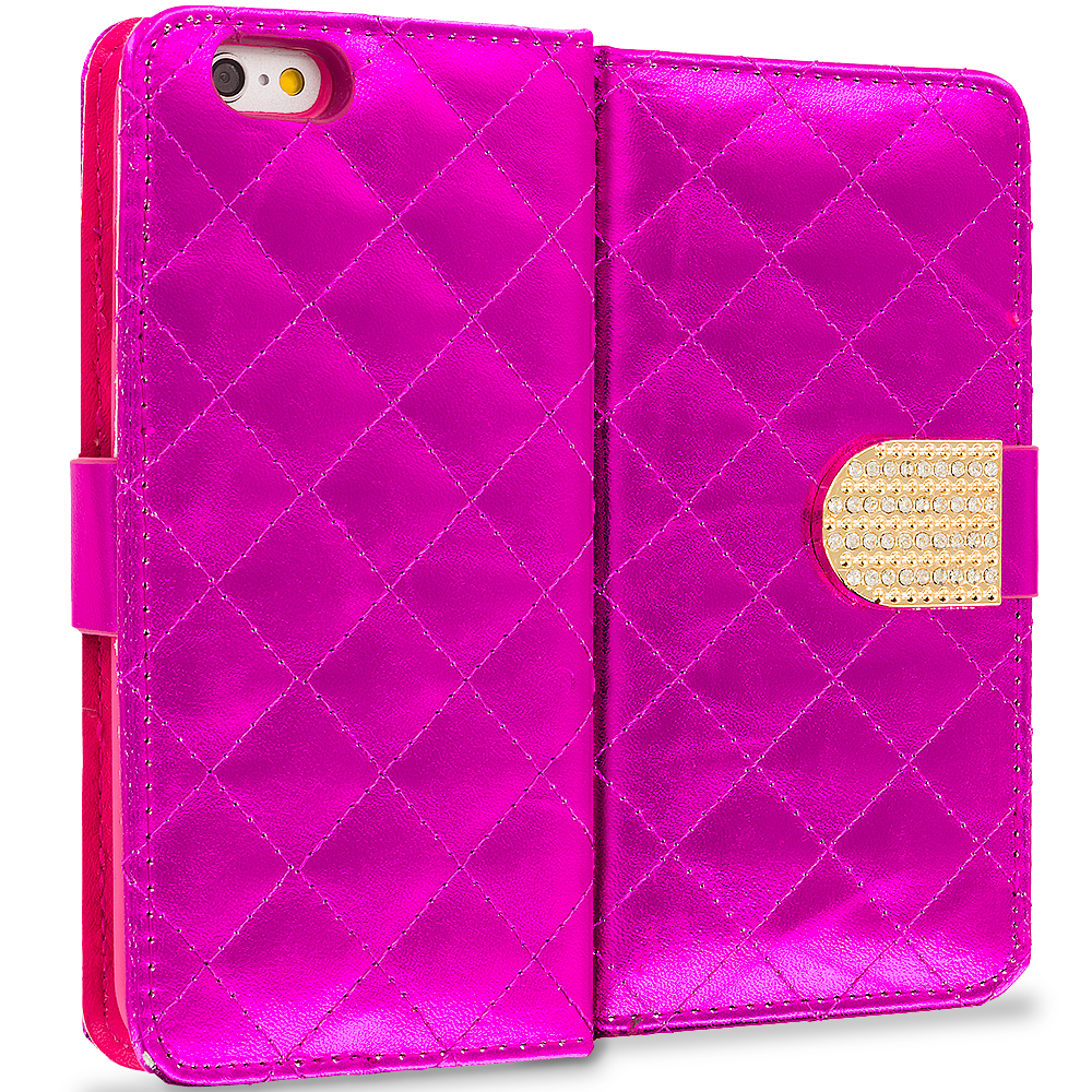 Apple iPhone 6 Plus 6S Plus (5.5) 5 in 1 Combo Bundle Pack - Luxury Wallet Diamond Design Case Cover With Slots : Color Hot Pink
