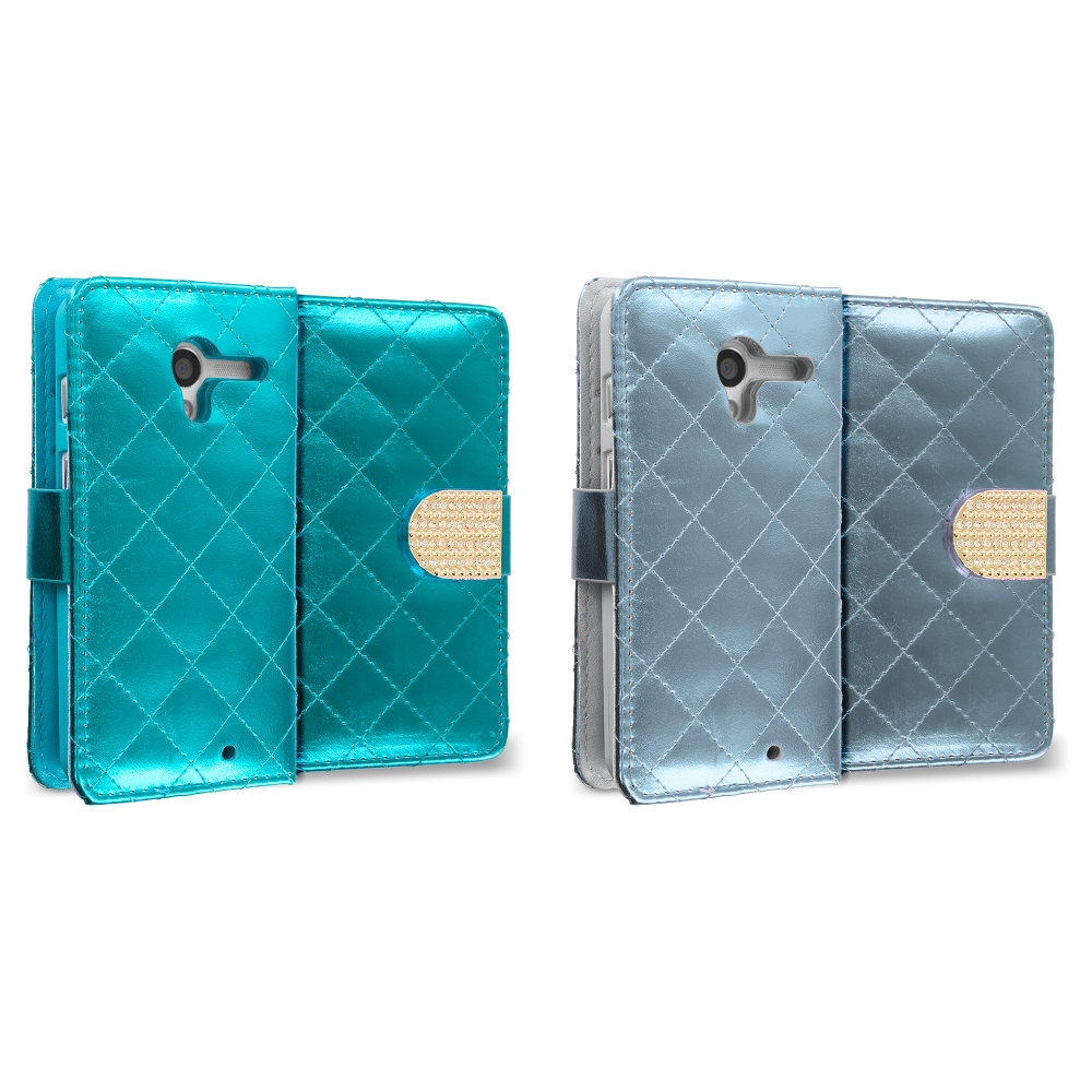 Motorola Moto X 2 in 1 Combo Bundle Pack - Teal Silver Luxury Wallet Diamond Design Case Cover With Slots