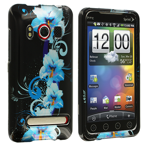 HTC EVO 4G Blue Flower Design Crystal Hard Case Cover