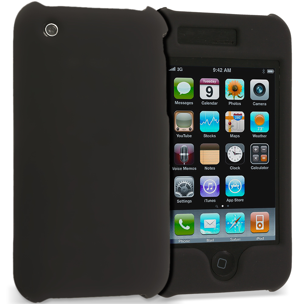 Apple iPhone 3G / 3GS Black Covered Hard Rubberized Case Cover