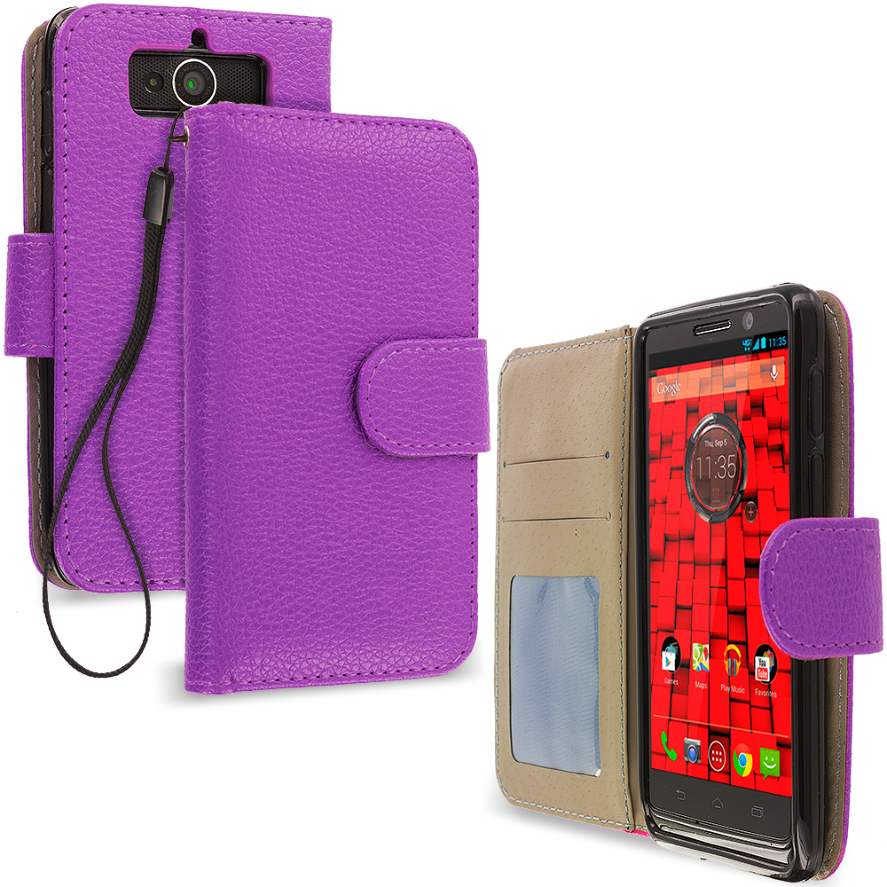 Motorola Droid Mini XT1030 Purple Leather Wallet Pouch Case Cover with Slots