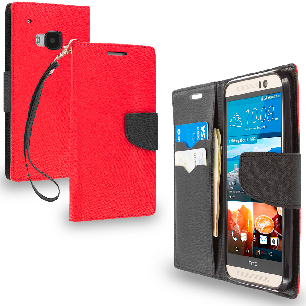HTC One M9 Red / Black Leather Flip Wallet Pouch TPU Case Cover with ID Card Slots