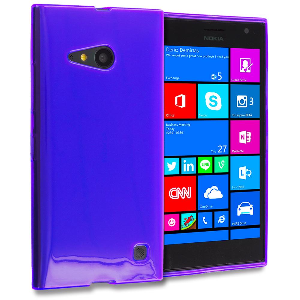 Nokia Lumia 730 735 Purple TPU Rubber Skin Case Cover
