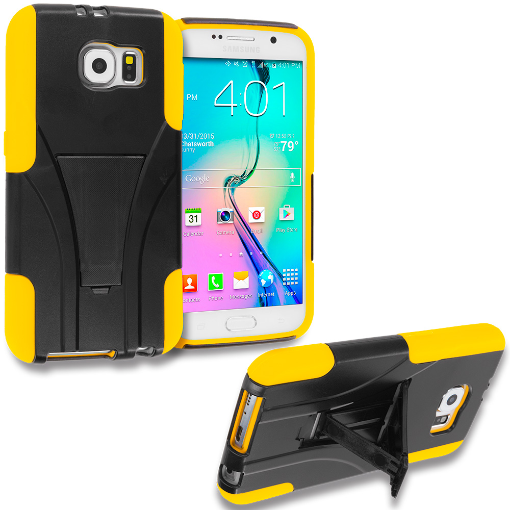 Samsung Galaxy S6 Black / Yellow Hybrid Hard Soft Shockproof Case Cover with Kickstand