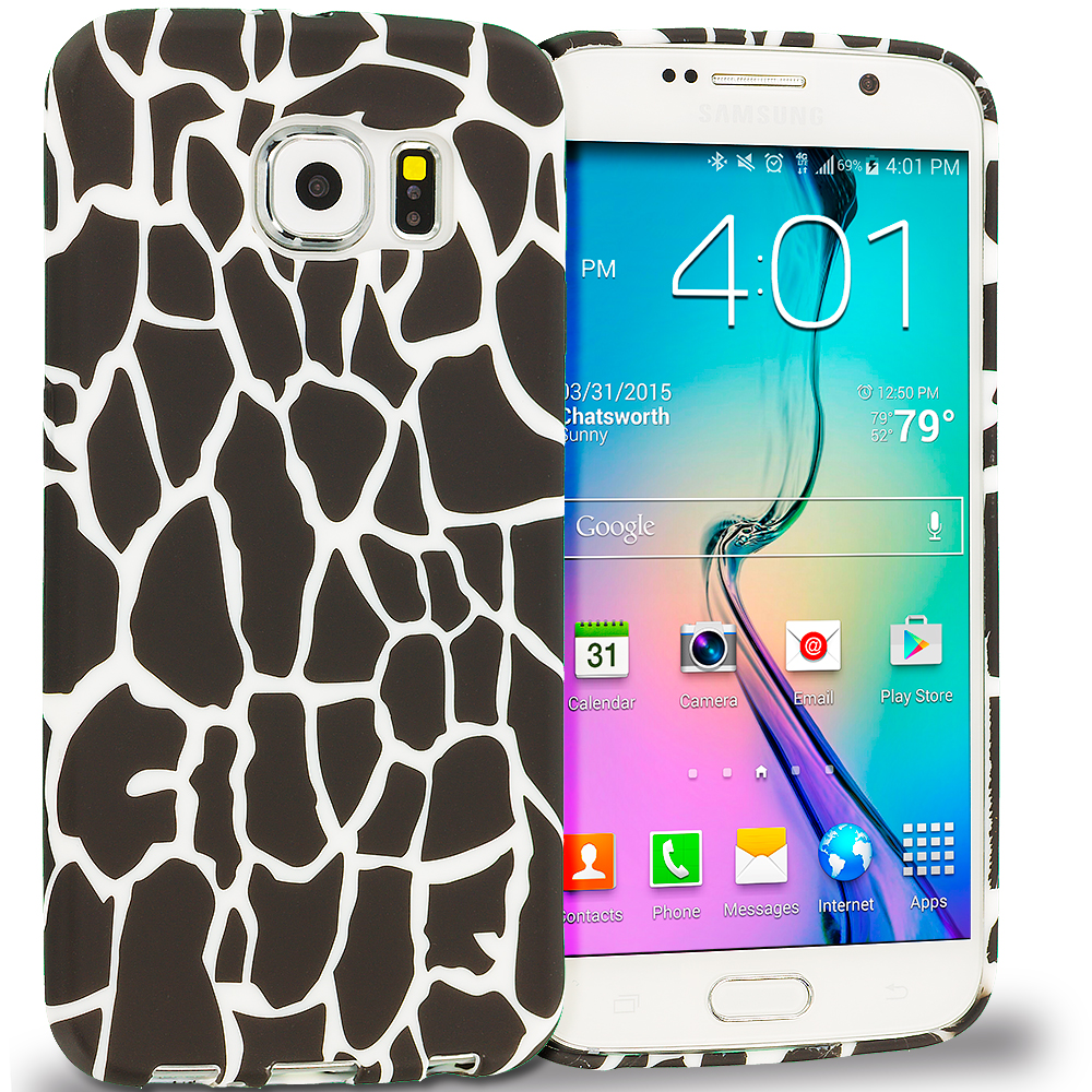 Samsung Galaxy S6 Black Giraffe TPU Design Soft Rubber Case Cover