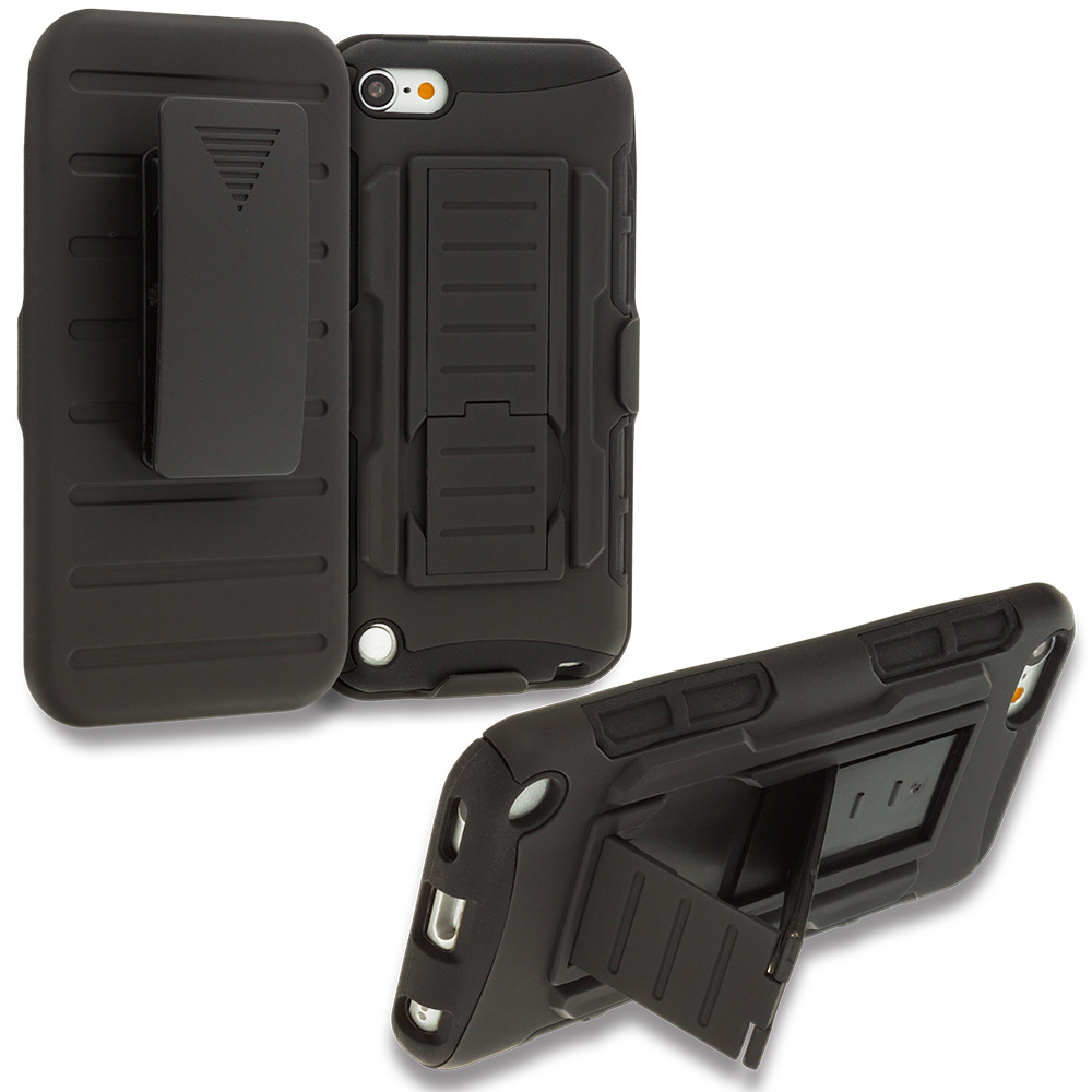 Apple iPod Touch 5th 6th Generation Black Hybrid Rugged Robot Armor Heavy Duty Case Cover with Belt Clip Holster