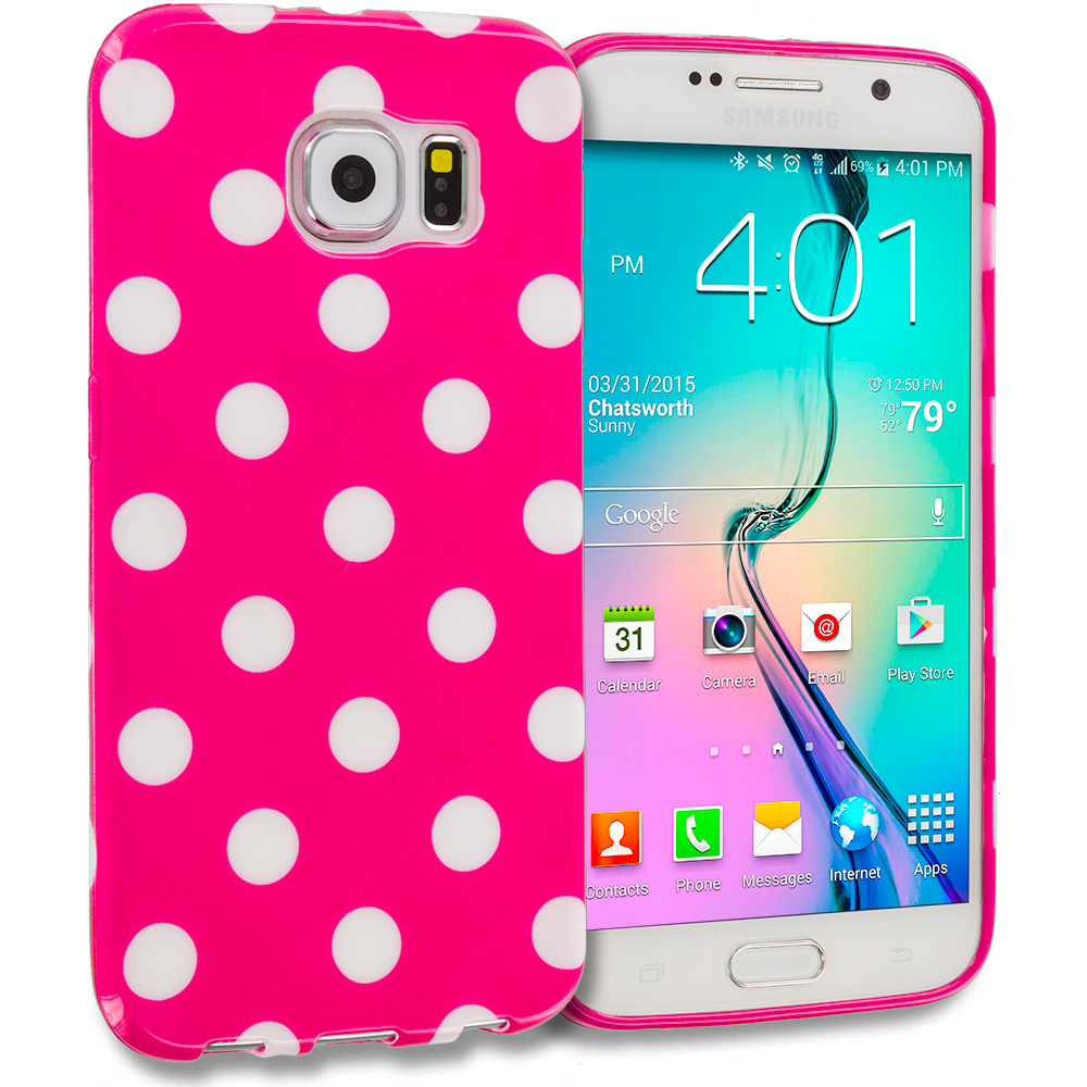Samsung Galaxy S6 Hot Pink / White TPU Polka Dot Skin Case Cover