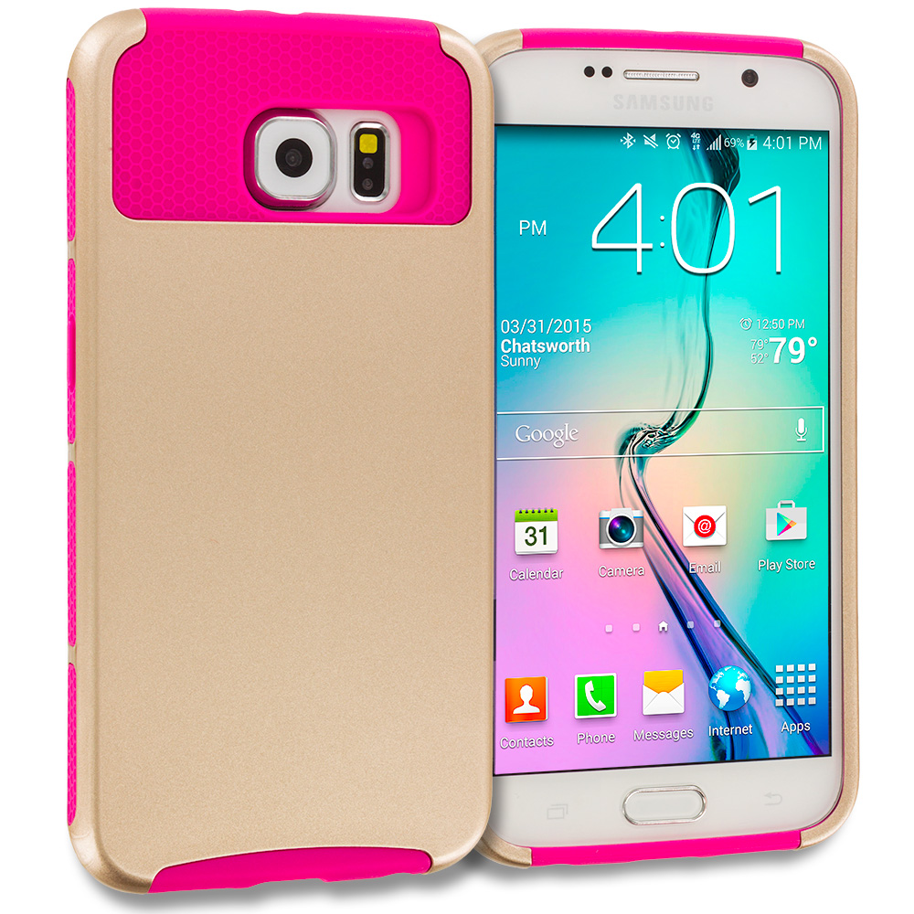 Samsung Galaxy S6 Edge 4 in 1 Combo Bundle Pack - Hybrid Hard TPU Honeycomb Rugged Case Cover : Color Gold / Hot Pink