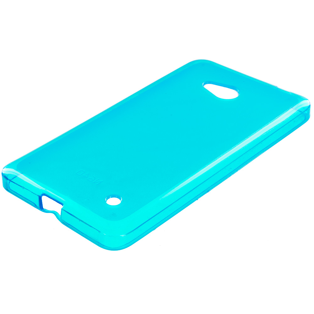 Microsoft Lumia 640 2 in 1 Combo Bundle Pack - Hot Pink Baby Blue TPU Rubber Skin Case Cover : Color Baby Blue