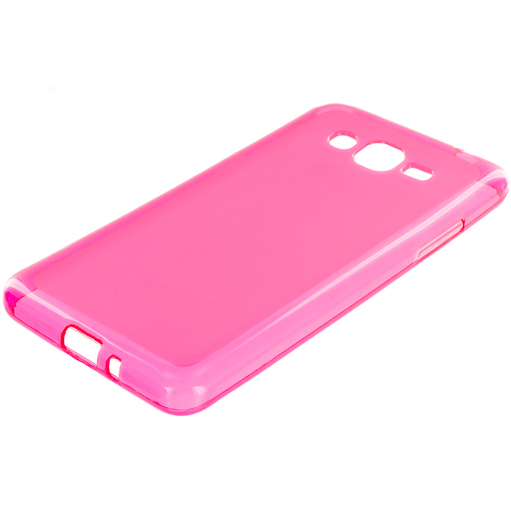 Samsung Galaxy Grand Prime LTE G530 2 in 1 Combo Bundle Pack - Hot Pink Purple TPU Rubber Skin Case Cover : Color Hot Pink