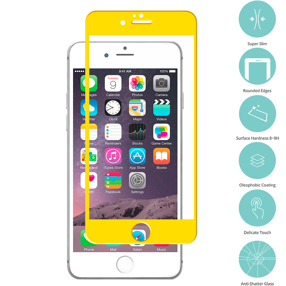 Apple iPhone 6 6S (4.7) Yellow Tempered Glass Film Screen Protector Colored