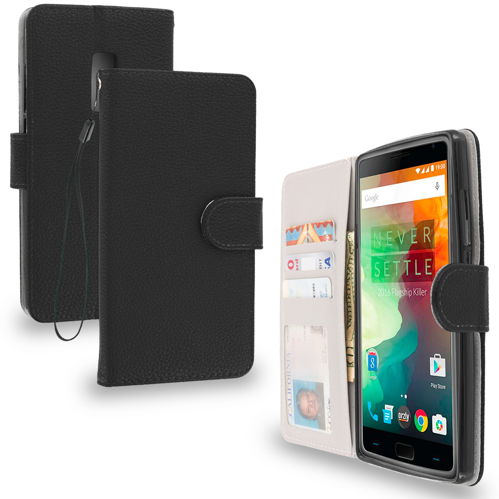 OnePlus 2 Two Black Leather Wallet Pouch Case Cover with Slots