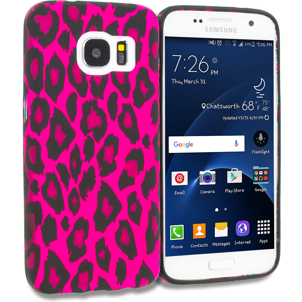 Samsung Galaxy S7 Combo Pack : Black Giraffe TPU Design Soft Rubber Case Cover : Color Hot Pink Leopard
