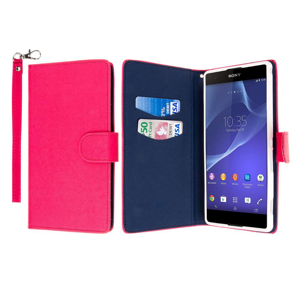 Sony Xperia T2 Ultra - Hot Pink MPERO FLEX FLIP Wallet Case Cover