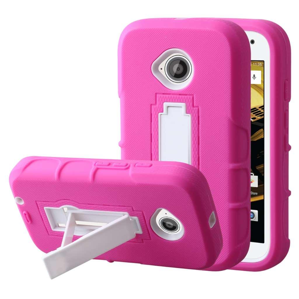 Motorola Moto E 2nd Generation - Hot Pink MPERO IMPACT XS - Kickstand Case