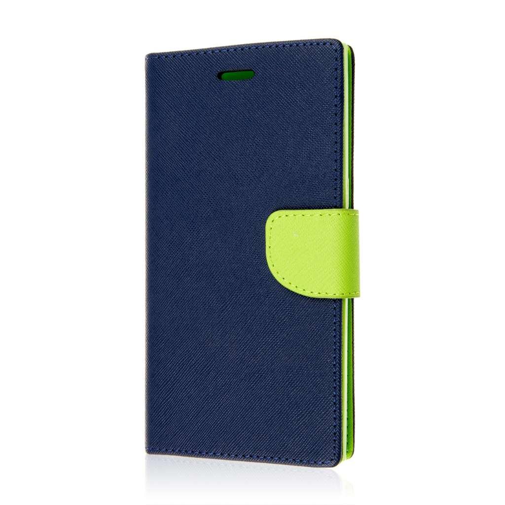 ZTE ZMAX - Blue / Neon Green MPERO FLEX FLIP 2 Wallet Stand Case Cover