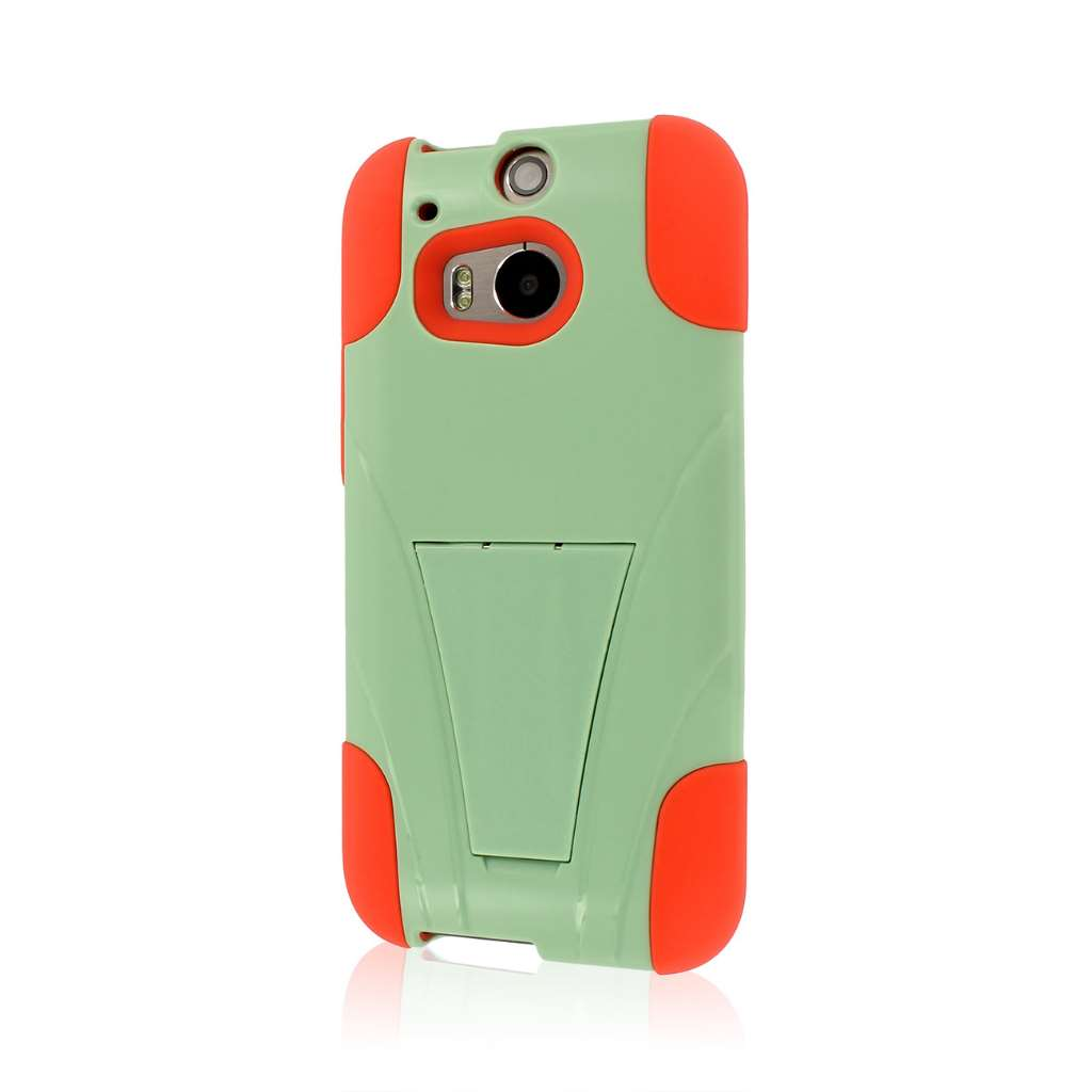 HTC One M8 - Coral-Mint MPERO IMPACT X - Kickstand Case Cover