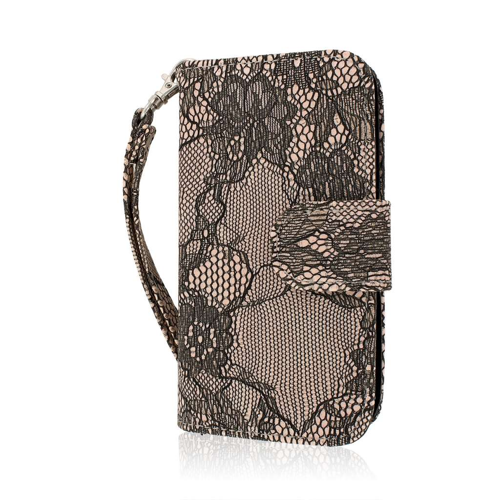 Huawei Vitria - Black Lace MPERO FLEX FLIP Wallet Case Cover