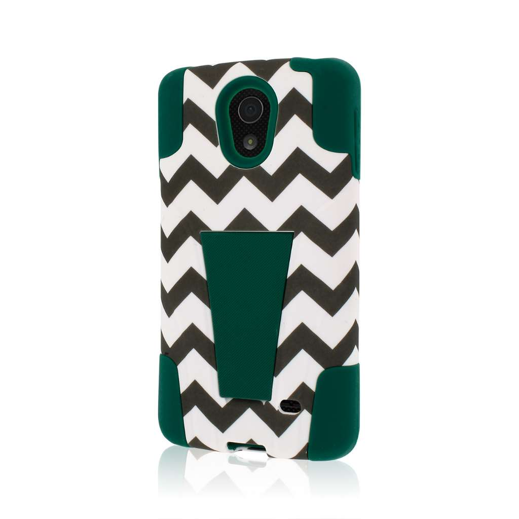 LG Lucid 3 - Teal Chevron MPERO IMPACT X - Kickstand Case Cover