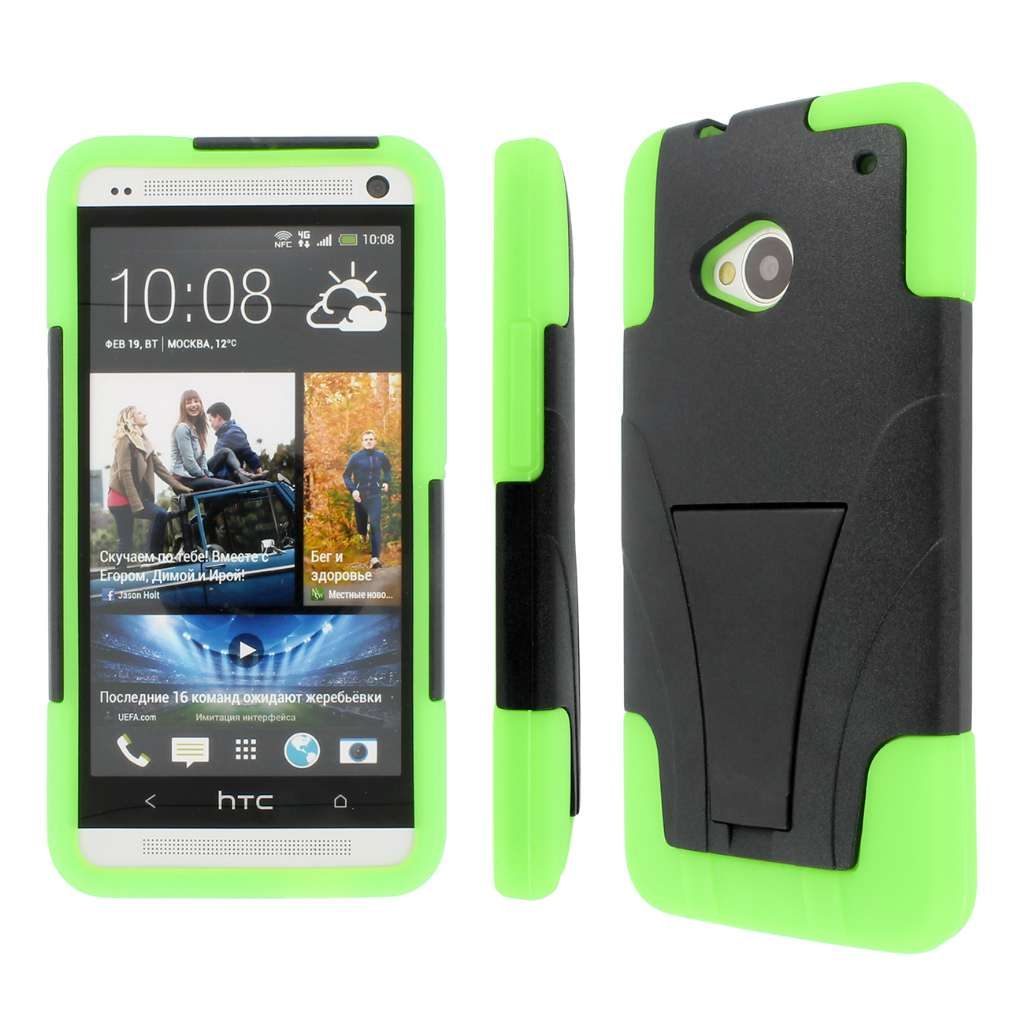 HTC One - Black / Neon Green MPERO IMPACT X - Kickstand Case Cover